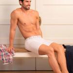 MEN'S LOW RISE CONTOUR POUCH LONG BOXER BRIEFS UNDERWEAR – WHITE